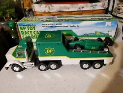 Vintage 1993 Bp Toy Race Car Carrier Truck Trailer - Limited Edition - Nice