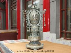 Chinese Dynasty Classic Old Bronze Bell Beast Dragon Palace Lanterns Lamp Statue