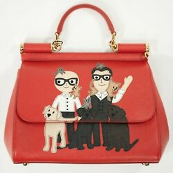 DOLCE & GABBANA Red Miss Sicily Designers Animals Patch Satchel Bag NEW NWT