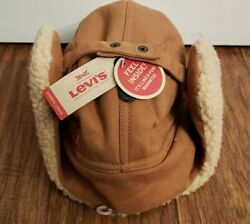 Levi's Mens Large X Sherpa Lined Winter Hunting Trapper Hat TanBeige Brand New