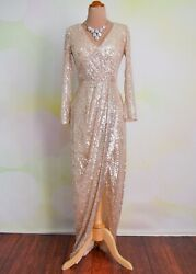 Champagne Sequin Evening Formal Prom Long Pageant Wedding Ball Gown Dress XL 12 $169.00