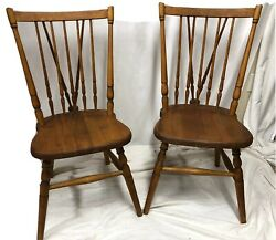 """Stickley Brothers Grand Rapids Pair Of Fan Back Matching Wooden Chairs 17"""" Seat"""