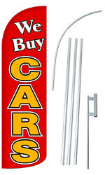 We Buy Cars Banner Flag Sign Display Kit Tall Bow Feather Flutter 3andrsquo Wide