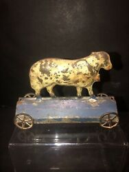 Rare Vintage Antique 1890and039s Lamb American Tin Platform Pull Toy