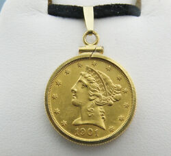 Us 1901-s Gold 5 Liberty Head Half Eagle Coin Pendant Set In 14k Gold