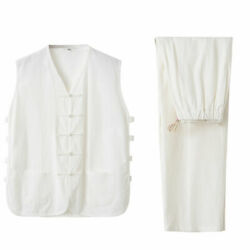 Menand039s Kung Fu Linen Vest Chinese Traditional Retro Disc Buckle Vest