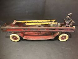 Antique Kingsbury Toys Fire Truck Wind Up Toy 18 Steel And Cast Iron
