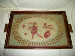 Antique 19th C. Needlepoint Sampler Roses Tray French Farmhouse Primitive 1876