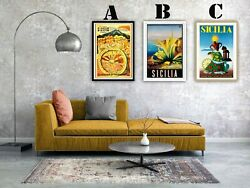 Sicily Travel Vintage Advertising Art Print Posters. Choice Of 3 Great Prints