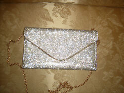 Gold Rhinestone Evening Clutch Wedding Party Handbag Shoulder Chain Bag 9quot;x5quot; $29.99