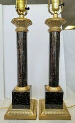 Vintage Brass Column Table Lamps .LEVITON VINTAGE LAMPS.VTG TABLE LAMP SET