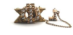 Antique 1944 Phi Sigma Kappa - 14k Yellow Gold Seed Pearls Fraternity Pin- 4.8g