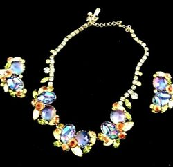Caviness Vintage Necklace And Earrings Iridescent Geode Peacock Stones, Rhinestone