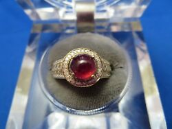 Unisex Cabochon Round Pigeon Blood 7mm Ruby And Diamond Ring 10k Yellow Gold