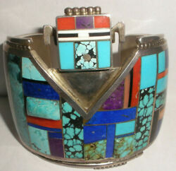 Navajo Edison Yazzie Sterling Silver Iturquoise Coral Kachina Mens Cuff Bracelet