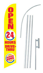 Burger King Advertising Banner Flag Complete Tall Sign Kit 2.5and039 Wide Yellow