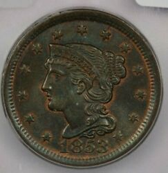 1853 Large Cent Icg Ms65 Br