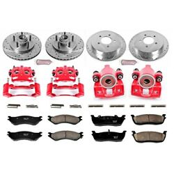 Kc1919 Powerstop 4-wheel Set Brake Disc And Caliper Kits Front And Rear For F-150