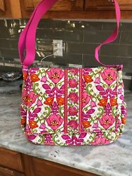 VERA BRADLEY Messenger Diaper Pink Floral GARDEN Used Once Mint Condition 17X12 $29.99