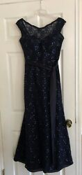 Beautiful Navy Sequined Formal Dress - Worn Once- Purchased At Bridal Shop