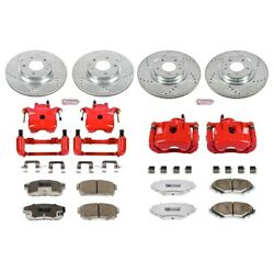 Kc2727-26 Powerstop 4-wheel Set Brake Disc And Caliper Kits Front And Rear
