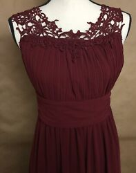 Long BRIDESMAID PROM EVENING FORMAL MAXI DRESS GOWN BURGUNDY JUNIORS SIZE S $18.69