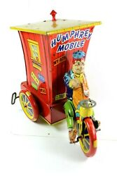 1940and039s Humphrey Mobile Tin Wind-up Wyandotte Toys - Michigan Early Red Base