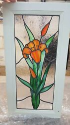 Kitchen Cabinet Art Glass Stained Glass Door Insert Window Tiger Lilly