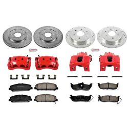 Kc2804 Powerstop 4-wheel Set Brake Disc And Caliper Kits Front And Rear For Armada