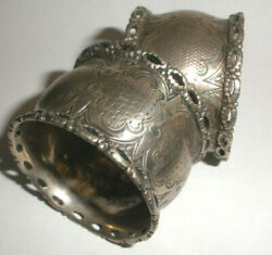 Pair Antique Circa 1850`s Coin Silver Or Sterling Nicely Ornate Napkin Rings