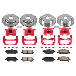 Kc2832a Powerstop 4-wheel Set Brake Disc And Caliper Kits Front And Rear For Jeep