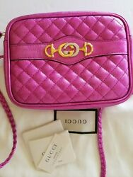 New Quilted Metallic Leather Camera Bag Crossbody Shoulder Bag Fuchsia
