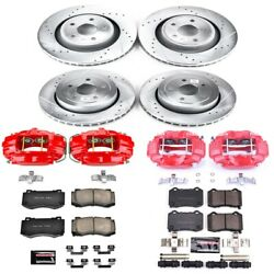 Kc2876 Powerstop Brake Disc And Caliper Kits 4-wheel Set Front And Rear For Jeep