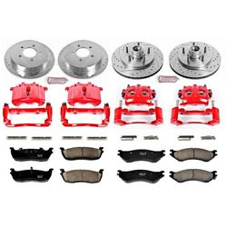 Kc1881 Powerstop Brake Disc And Caliper Kits 4-wheel Set Front And Rear For F-150