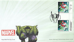 44253 Gb Fdc Marvel Gutter Pair Captain Britain Shield Row Stanley 2019