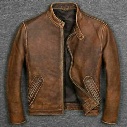 Men#x27;s Biker Cafe Racer Vintage Motorcycle Distressed Tan Brown Leather Jacket