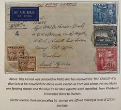 1942 Malta On Active Service Airmail Cover To Mef Army Po Durban South Africa