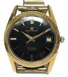 Mens Bucherer Automatic Incabloc Wrist Watch Date 30.57 Gold Plated Stainless