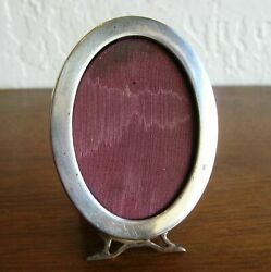 Antique Art Deco Sterling Silver Small Oval Picture Vintage Photo Frame Holder