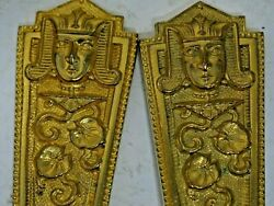 Antique Vintage Egyptian Revival Victorian Goth Pharaoh Pair Gold Silver Spoons