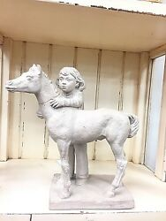 1981 Austin Productions Girl And Colt Sculpture By James Marshall Repaired