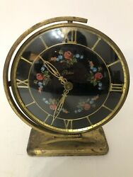 Artco Mid Century Eames Clock Floral Dial With Gimbel Swivel Mount