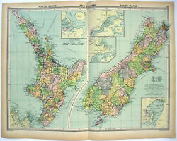 Large Original 1926 Map Of New Zealand By George Philip And Son. Nz. Vintage