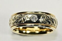 Real 14kt Gold Hawaiian Jewelry Ring 6mm Barrel Size 4 Hand Engraved Maile Leaf