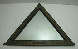 Double Triangle Best Brand Made Antique Advertising Mirror Embossed Sign Cigar