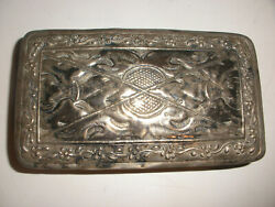 Antique Early Middle Eastern Sterling Silver Cigarette Tobacco Or Pencil Box