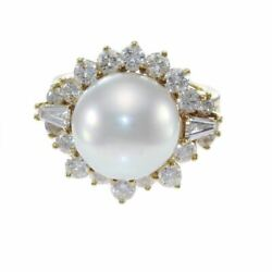 2.8ctw Baguette Diamond 12mm Pearl Cocktail Ring 18k Yellow Gold Womens 5.50