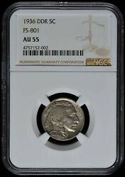 1936-p Ddr Fs-801 Buffalo Nickel 5 Cent Ngc Au55 Values At 1200