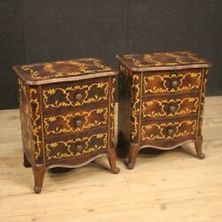 Pair of bedside tables furniture night stands inlaid wood antique style bedroom