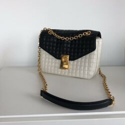 Celine Black and White Quilted Leather Shoulder Bag $2,700.00